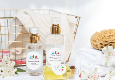 Three Gems Makeup Remover, Witch Hazel Toner And Frankincense Face Oil In Bathroom Setting