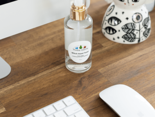 Three Gems Witch Hazel Toner On Desk By Keyboard