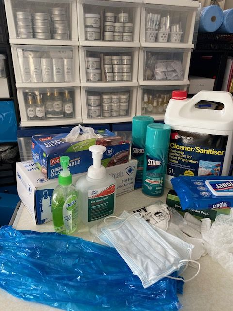Three Gems precautions being taken - cleaners and product storage