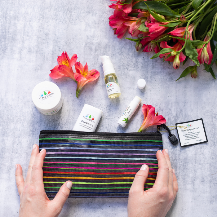 Three Gems Gift Pack showing 4 products with hands and flowers