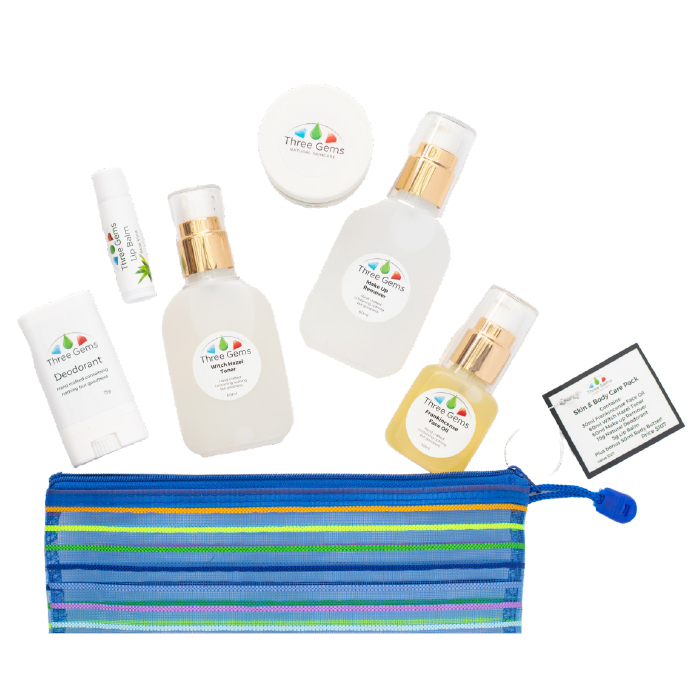 Three Gems Travel Pack with 6 natural skincare products